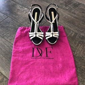 Diane von Furstenberg silver and black heels